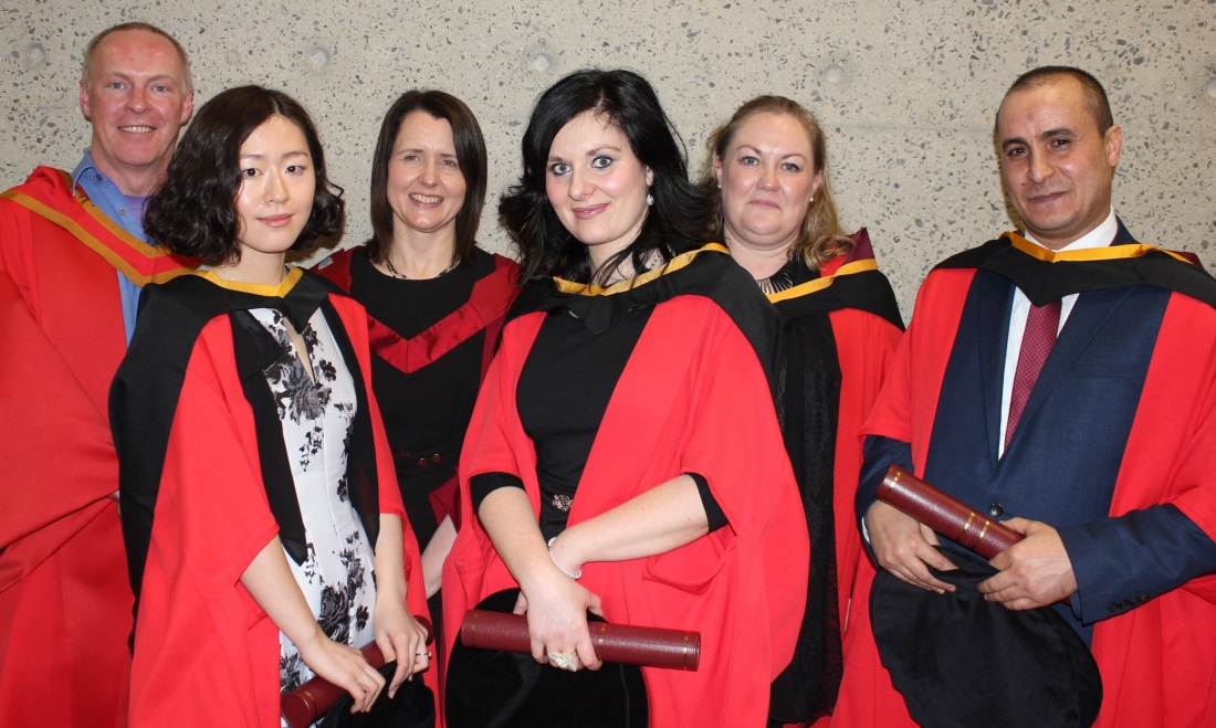 Yuying Liu, Silvia Benini and Abdulhakim Belaid after receiving their PhD awards at the January 2016 conferrings with Dr. Liam Murray, Professor Helen Kelly-Holmes, and Dr. Fiona Farr.