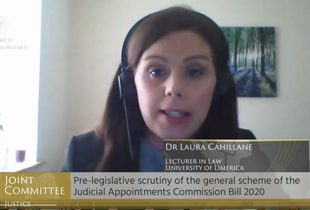 Dr Laura Cahillane at the Oireachtas Justice Committee