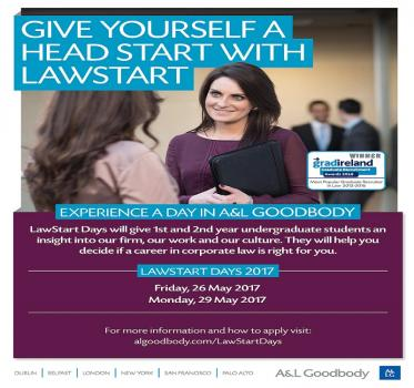 A&L Goodbody is currently recruiting for their LawStart Days