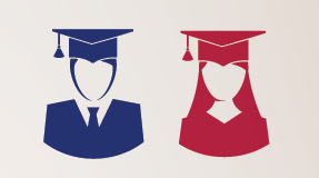 Graphic image of men and women graduates