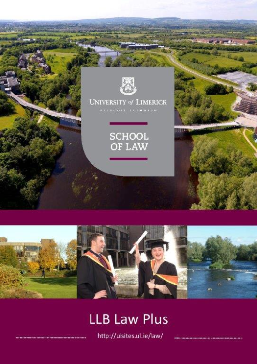 Cover of the LLB Law Plus course brochure.