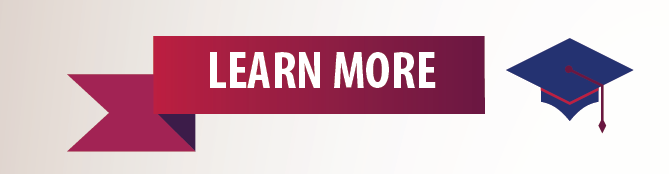 "Graphic image that says ""Learn more"" next to a graduation mortar board hat"
