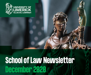 Cover of Newsletter featuring the UL logo and image of lady justice statue