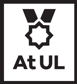 "Graphic image of a medal with ""at UL"" written below."