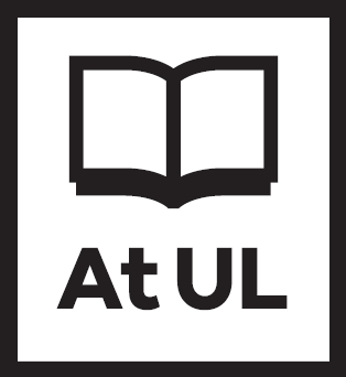 "Graphic image of an open book with ""at UL"" written below"