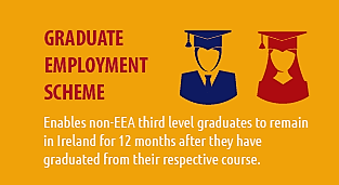 Graphic image about the university's graduate employment scheme that says it enables non-EEA graduates to remain in Ireland for 12 months after graduation.