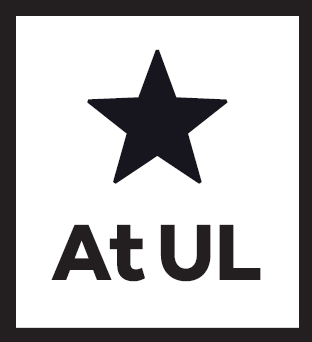 "Drawing of a five pointed star in black with ""At UL"" written below"