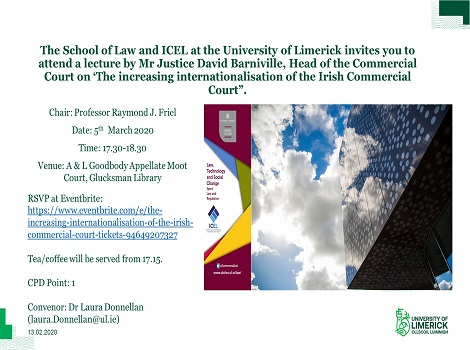 Seminar by Mr Justice David Barniville on 'The Increasing Internationalisation of the Commercial Court'
