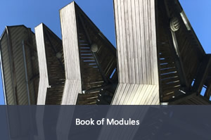 Image of a stack of books; link to book of modules.