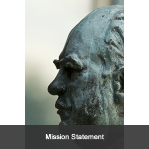 Bust of university chancellor; link to school of law's mission statement.