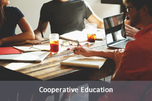Cooperative Education, silhouette image of people and cogs