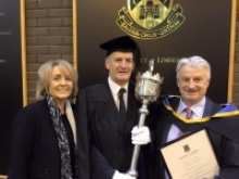 Gerry Greaney and wife Christine with Mace Bearer John O'Neill