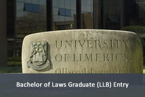 Photo of the university name and logo in stone on campus. Link to LLB Entry programme.