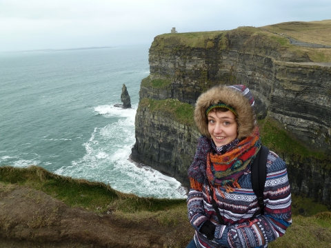 Photograph of Marie Amandine Albinet at the Cliffs of Moher