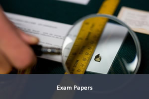 Image of exam papers; link to past exam papers.