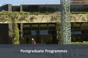 Picture of the library building and the sculpture outside. Link to postgraduate programmes