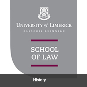 Image of the school of law's logo; link to history of the school of law.