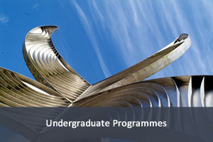 Image of sculpture on campus; link to undergraduate programmes