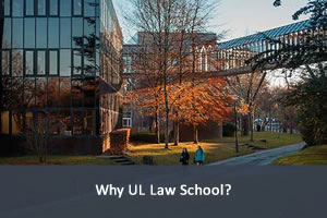 Photograph of two students walking on UL Campus; link to reasons to choose UL