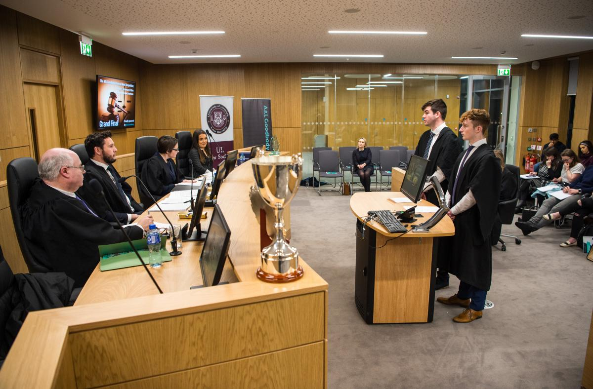 Image of the moot courtroom in use with judges and students