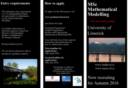 MSc in Mathematical Modelling Now Open for Applications.