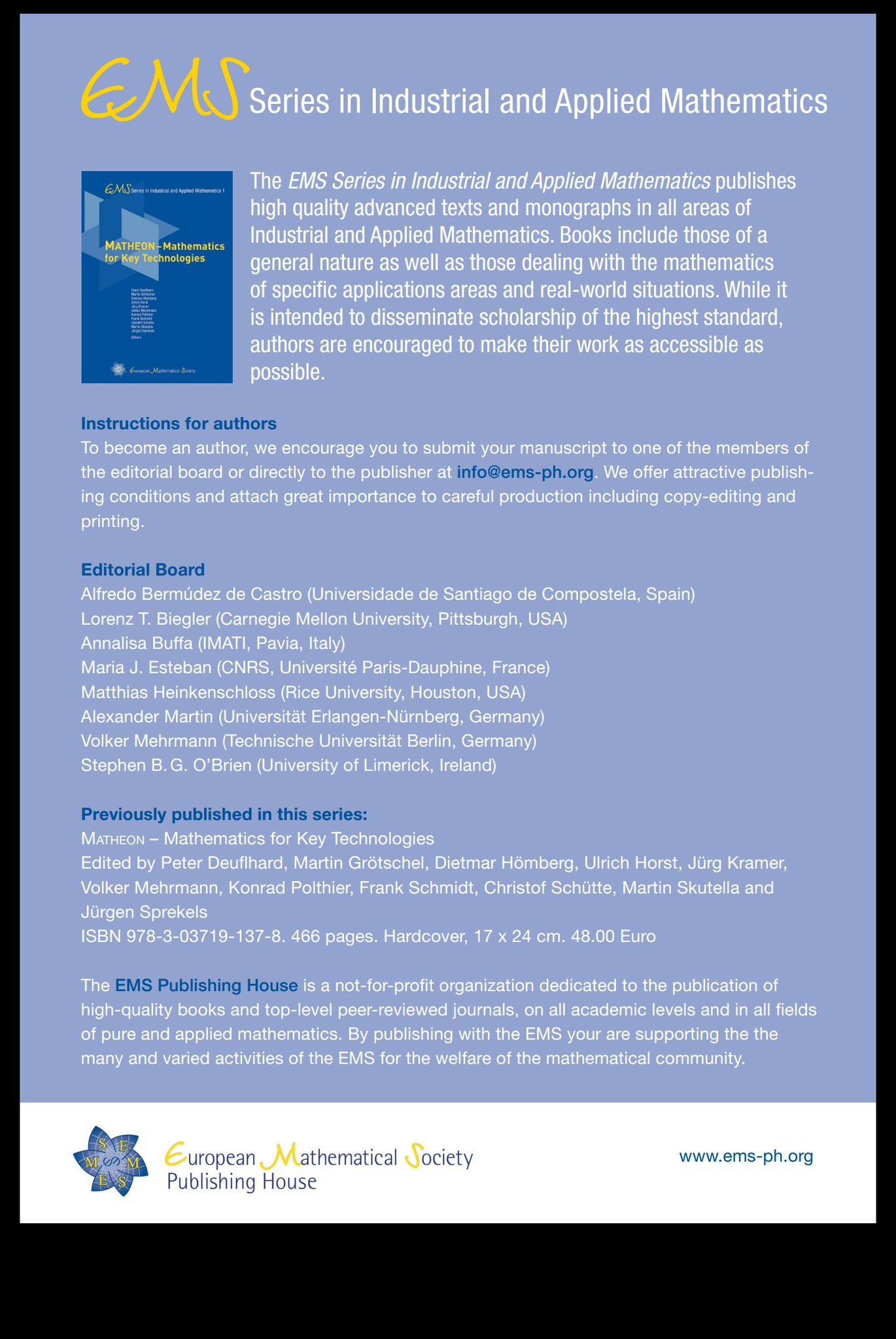 Ems Series In Industrial And Applied Mathematics University Of