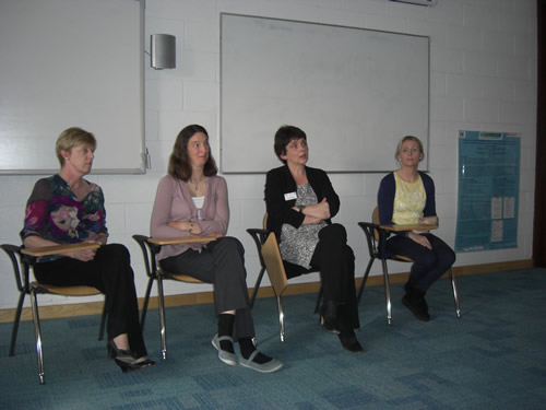 Photo: (from left to right) WIMDI keynote speakers at the panel discussion, Dr Therese Dooley, Dr Rachel Quinlan, Prof Orla Feely and Dr Olivia Fitzmaurice