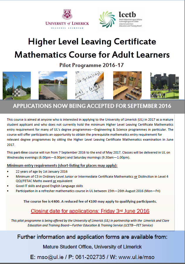 Higher Level Leaving Certificate Mathematics Course For Adult