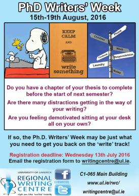PhD Writers' Week 2016