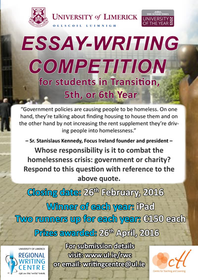Secondary School Essaywriting Competition   University Of Limerick Secondary School Essaywriting Competition