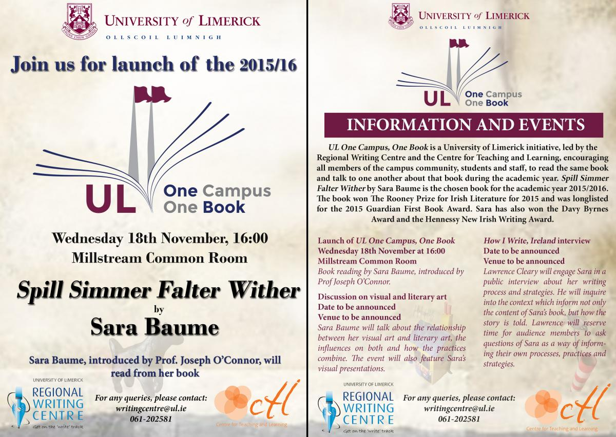 Leaflet One Campus, One Book 2015-16