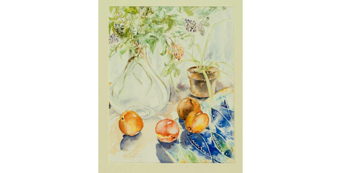 Ann Cassidy (1949-), Nectarines and Blue Fish, 1993. Watercolour on paper 43.5 x 34.5 cm, WCSI.1993