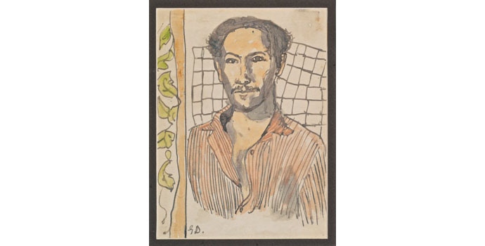 Gerard Dillon RHA, RUA (1916-1971), Self Portrait. Watercolour on paper 20 x 15cm, NSPCI.2010.440.