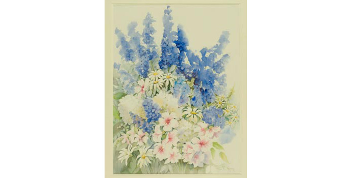 Anne Blayney, Summer Flowers, 1992. Watercolour on paper, 71.5 x 53cm, WCSI.1992