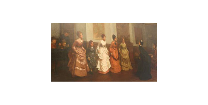 Philip Hermogenes Calderon RA (1833 - 1898) Ladies Being Taught to Curtsey Oil on canvas 61.5 x 112 cm