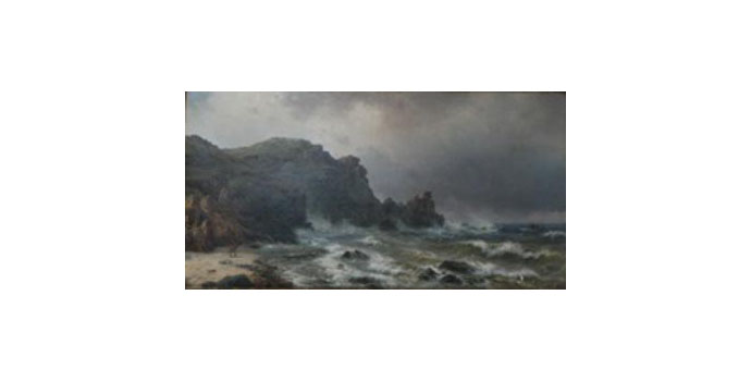 William Melby Rough Seas with a view of Cliff Side Oil on canvas 55 x 106 cm