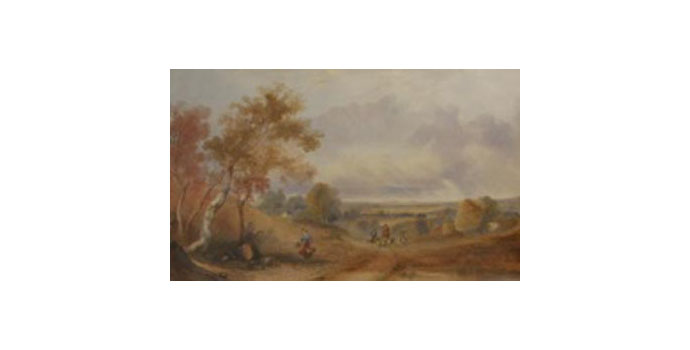 English School 19th Century Landscape with Shepherds and Sheep - Oil on canvas 40 x 65 cm
