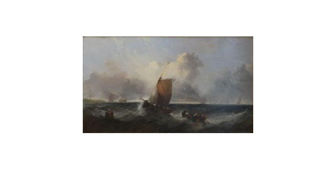 English School 19th Century Shipping off the Coast - Oil on canvas 51 x 87 cm