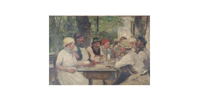 O.S.C. Wergleland Beer Drinkers - Oil on canvas 41 x 69 cm