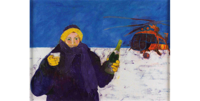 Bernadette Madden (1948-), Self Portrait on the North Pole, 2009. Wax resist on linen 86 x 118 cm, NSPCI.2009.433.