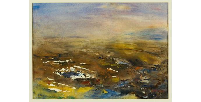 Brid Clarke, Bogland Connemara. Watercolour on paper 48.5 x 73 cm, WCSI.1996