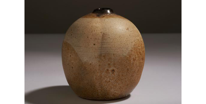 CR6 IACI.2002.244 Mary Epmontian Vase Small vase in brown clay, decorated with barely visible overlapping sap green, brown green and deep violet semi circular slips and glazes. (Inscribed on base, Mary Epmontian). 9.8 x 9.4 x 9.4 cms United States Ceramic