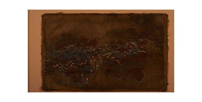 Caoimhghin O'Fraithile, Lompithe bun os coinn, May 2012. Ink on handmade lacquered paper 35.3 x 57.5 cm, NSPCI2012.470.