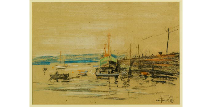 Cecil Barrow (1913-), Low Tide at Schull, 1969. Crayon on paper, 49 x 70.5 cm, WCSI.1969