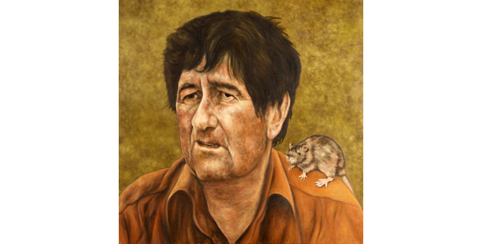 Demot Seymour (1956-), Dermot Seymour with rat, 2011. Oil on canvas 100 x 100cm, NSPCI.2011.456.