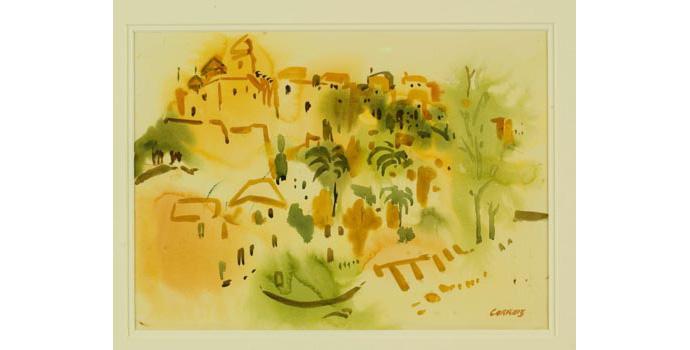 Desmond Carrick (1928-), Old Moorish Fortress, Ibiza, 1997. Watercolour on paper 24 x 33.5 cm, WCSI.1997