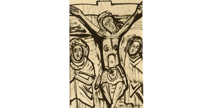 Evie Hone (1894-1955) Christ on the Cross, c.1940 ink and wash on paper 36.3 x 24.5 cm IACI.2003.020
