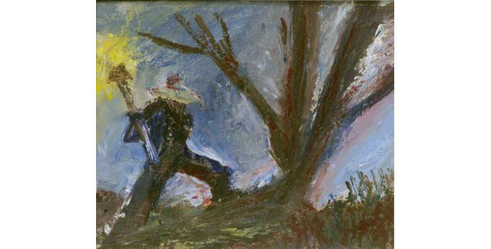 Edward A. McGuire (Senior) (1901-1992) The Woodcutter oil on canvas, 28 x 34.5cm