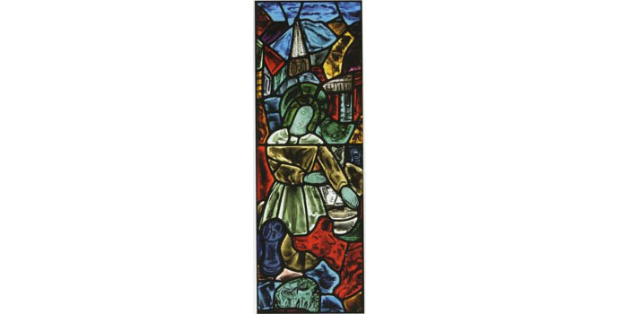 Evie Hone (1894-1955) Saint Brigid Kneading Bread c.1940 stained glass panel, 111 x 37cm