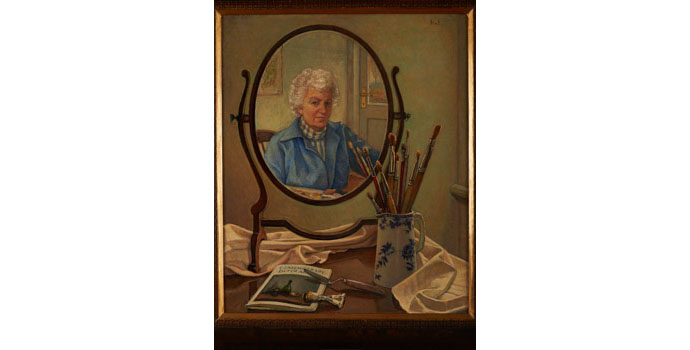 Hilda Van Stockum H.R.H.A, Oval Mirror, 1984. Oil on panel 60 x 49.5cm, NSPCI.2012.473.
